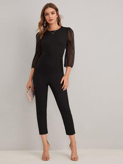 Contrast Mesh Puff Sleeve Solid Jumpsuit