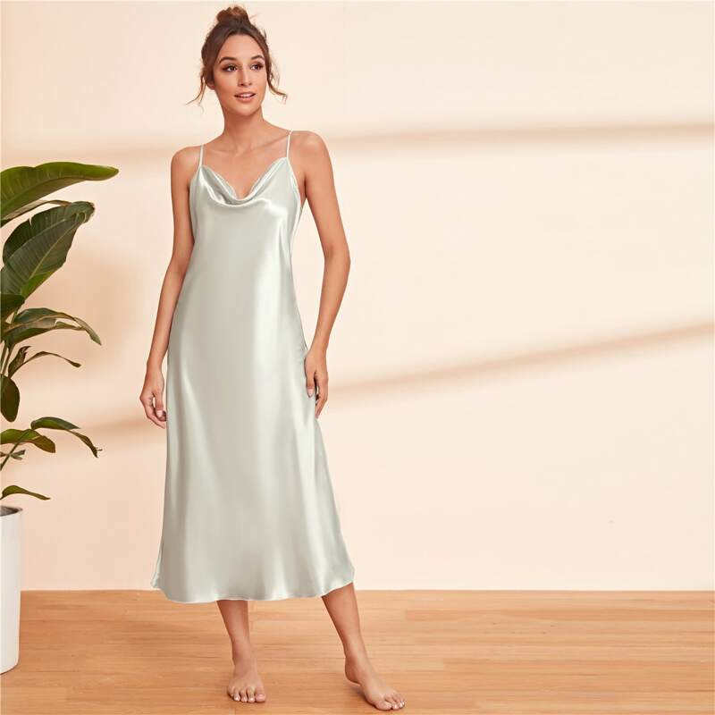 Satin Solid Cami Nightdress, Grey