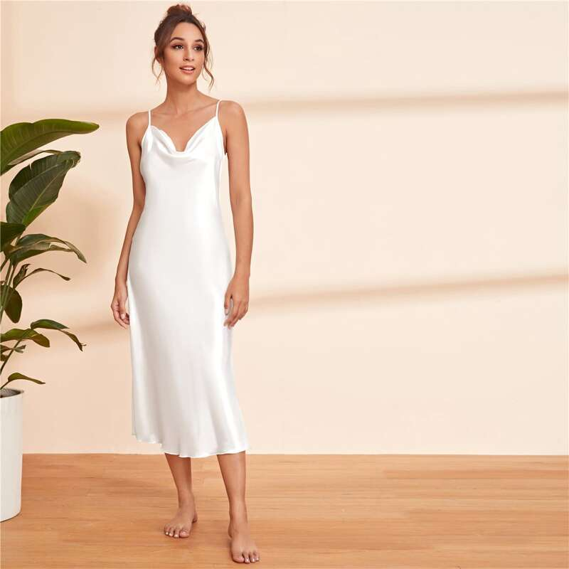 Satin Solid Cami Nightdress, White