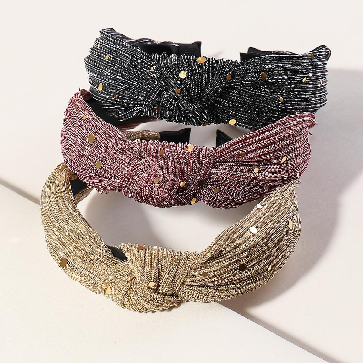3pcs Sequin Cross Knot Hair Hoops
