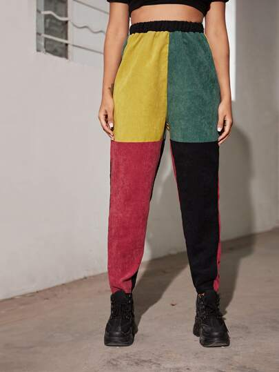 Color-block Elastic Waist Corduroy Pants