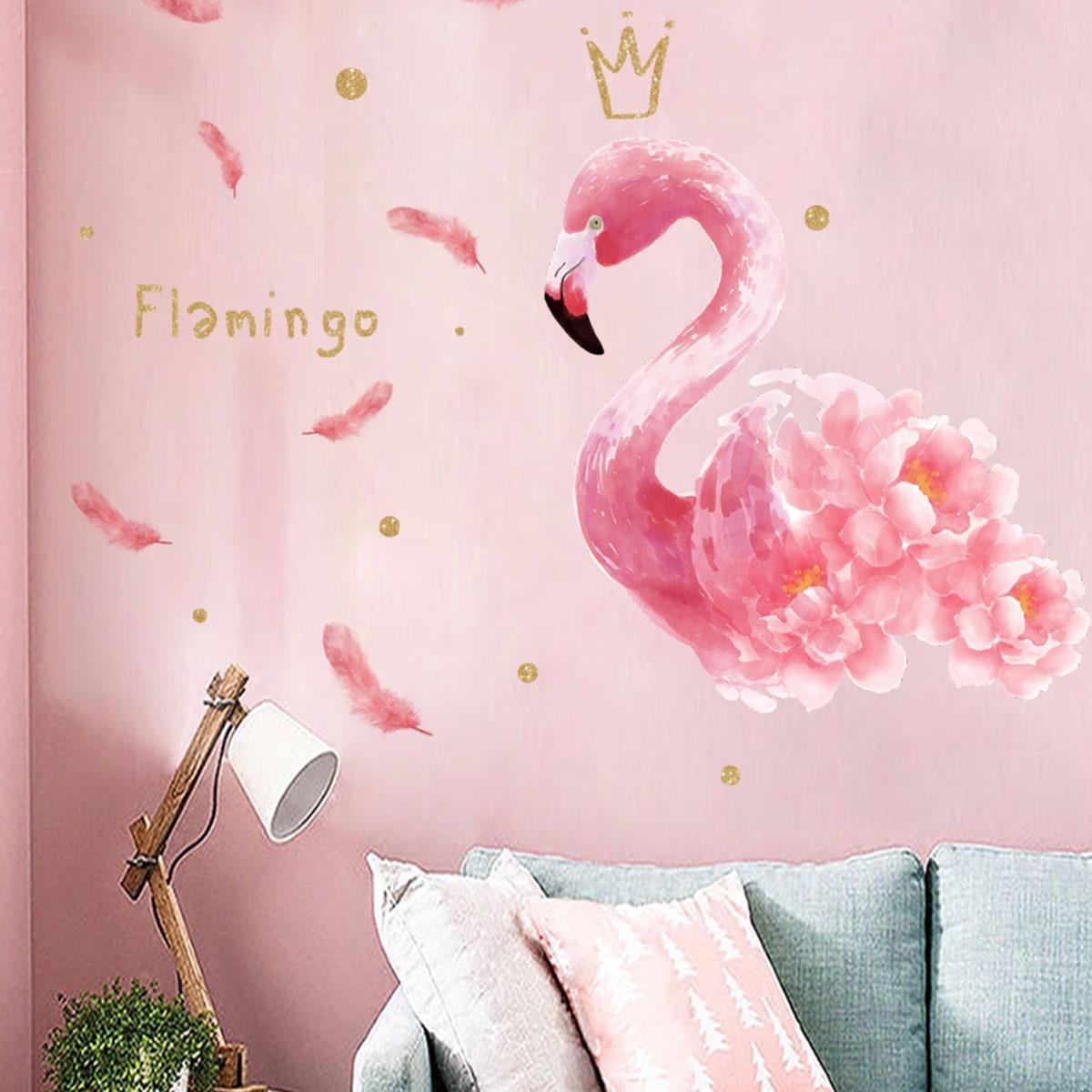 Стикер для стены с принтом фламинго