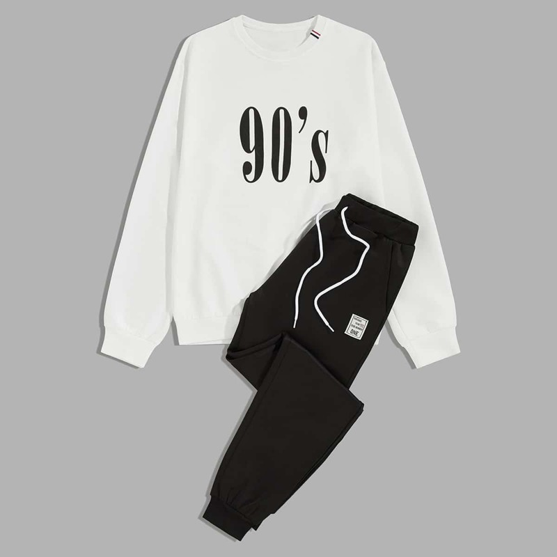 Guys Letter Graphic Sweatshirt & Drawstring Track Shorts, Black and white