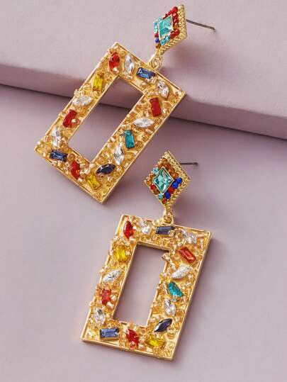 1pair Rhinestone Engraved Geometric Drop Earrings