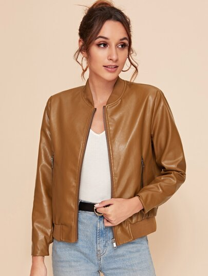 Slant Pocket Zip-up PU Leather Bomber Jacket