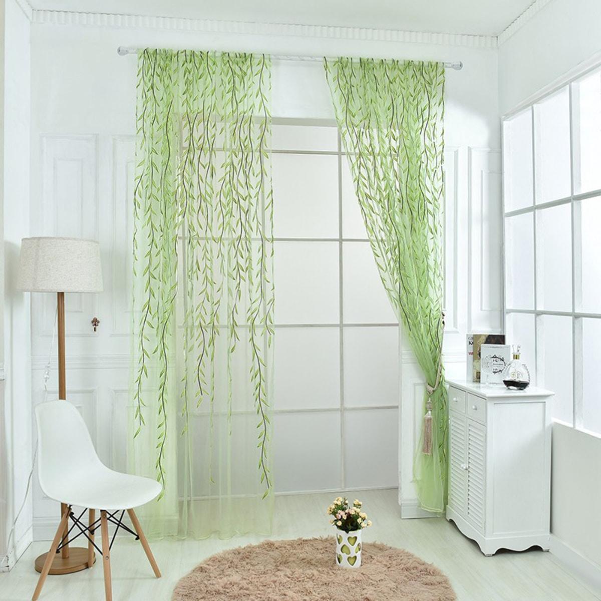 1pc Leaf Pattern Sheer Curtain