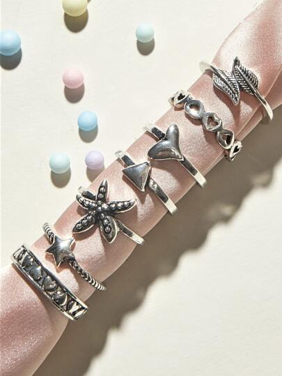 7pcs Heart & Star Decor Rings
