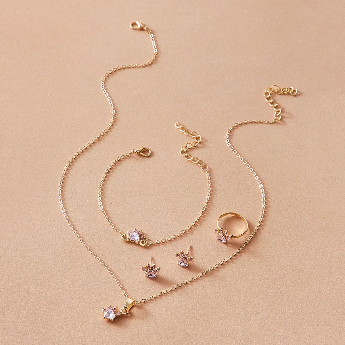 5 Stücke Halskette mit Strass Anhänger & Ohrringe & Armband & Ring
