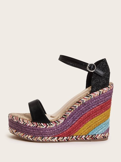 Open Toe Rainbow Sole Ankle Strap Wedges