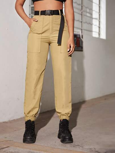 Belted Flap Pocket Cargo Pants