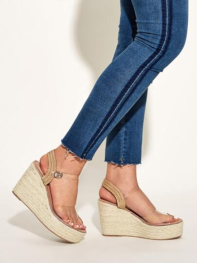 Clear Open Toe Ankle Strap Espadrille Wedges