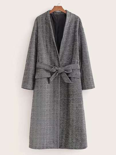 Chevron Texture Self Tie Longline Overcoat