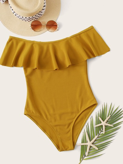 Rib Flounce One Piece Swimwear