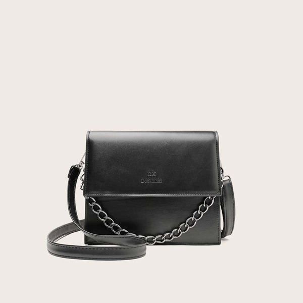 Letter Detail Chain Satchel Bag, Black