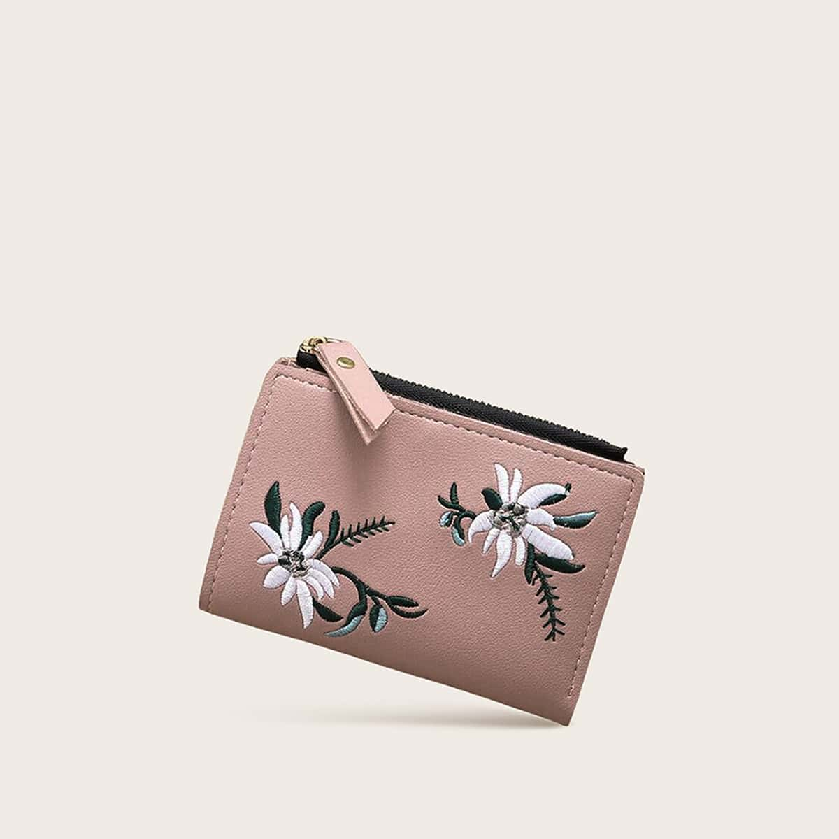 Floral Embroidered Fold Over Purse