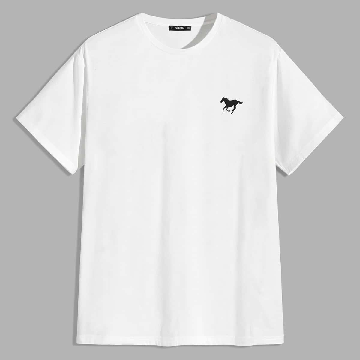 Men Horse Print Top
