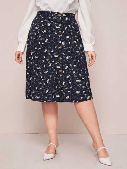 Plus Ditsy Floral Button Front Skirt