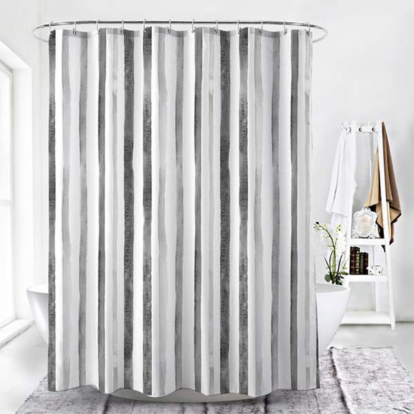 1pc Vertical Stripe Pattern Shower Curtain, Multicolor