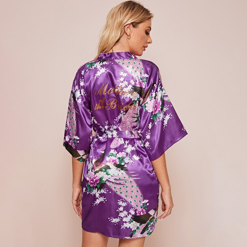 Floral Print Belted Satin Robe, Purple