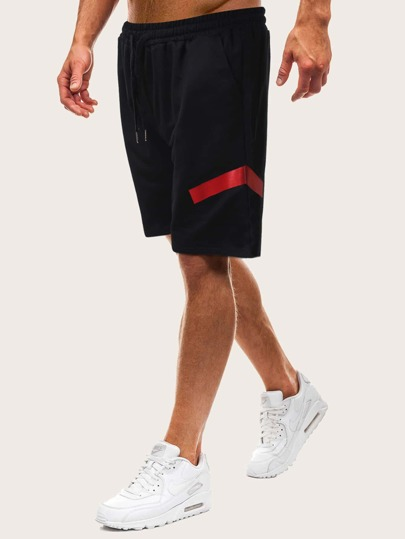 Men Contrast Panel Drawstring Waist Track Shorts