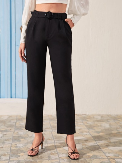 Buckle Belted Tailored Pants