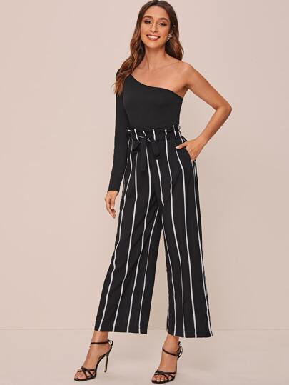 One Shoulder Tee With Paper Beg Waist Striped Pants