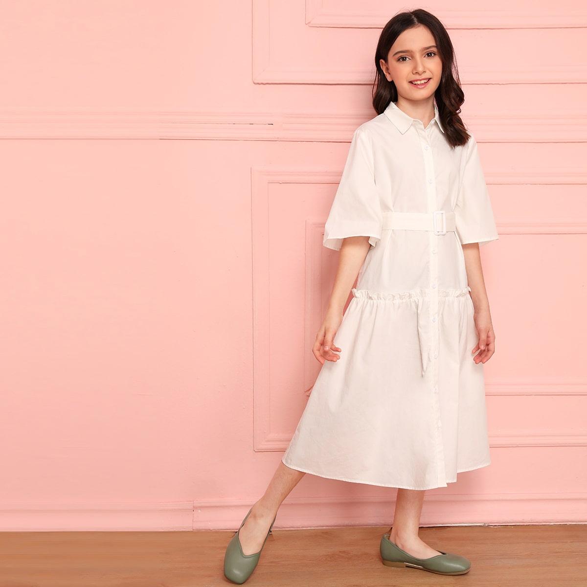 Платье-рубашка с поясом и складкой для девочек