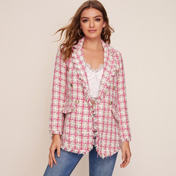 Notched Collar Raw Edge Double Breasted Tweed Blazer, Pink