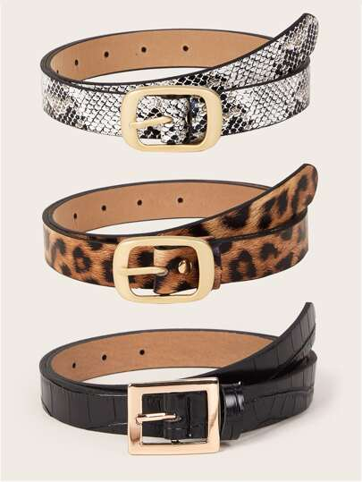 3pcs Leopard & Snakeskin Pattern Belts Set