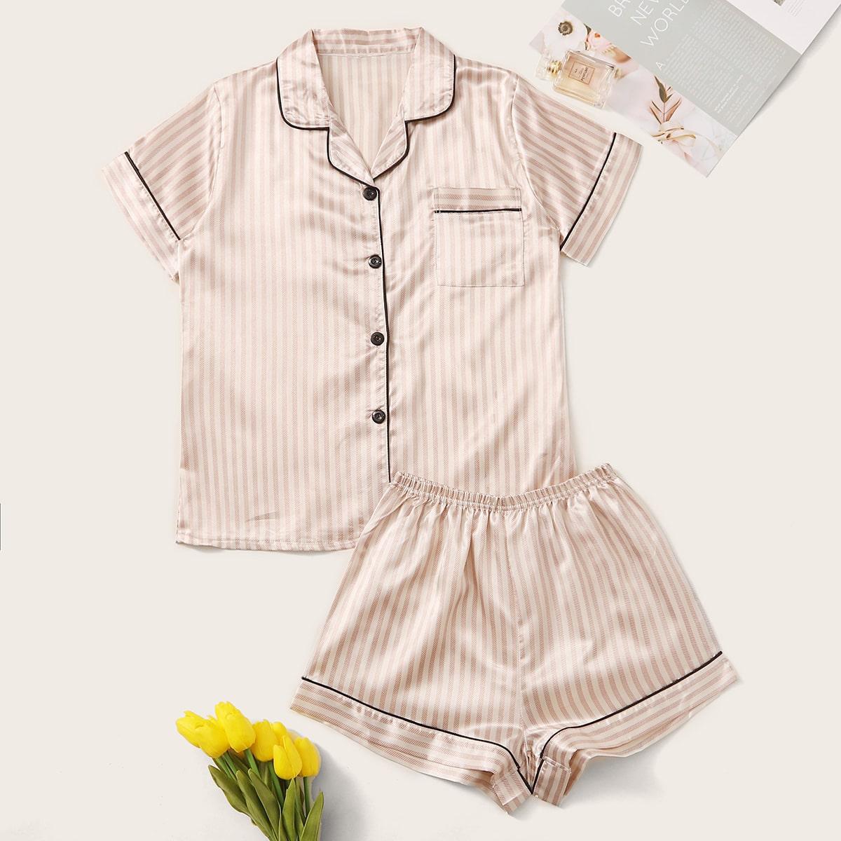 Satin Schlafanzug Set mit Streifen und Paspelsaum