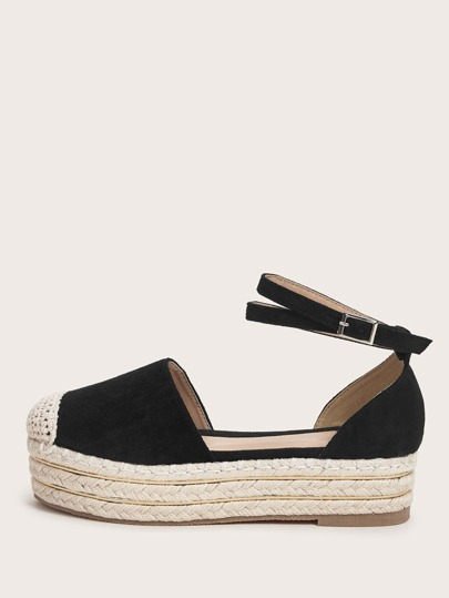 Braided Ankle Strap Espadrille Wedges