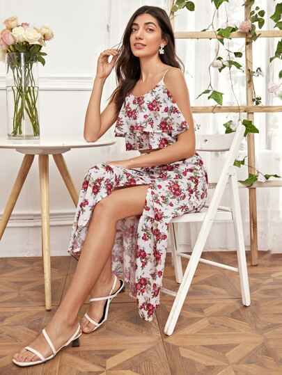 Ruffle Floral Cami Top With Split Thigh Skirt