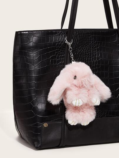 Fluffy Rabbit Charm Bag Accessory
