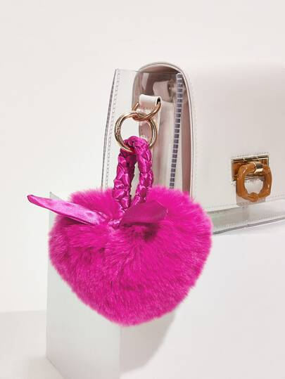 Fluffy Heart Charm Bag Accessory