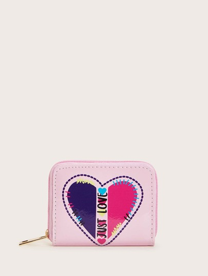 Heart & Letter Graphic Zipper Around Wallet