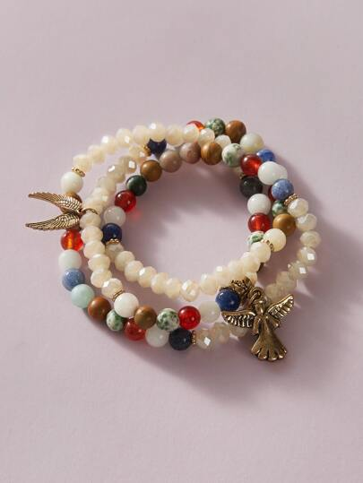 1pc Wing Charm Beaded Layered Bracelet
