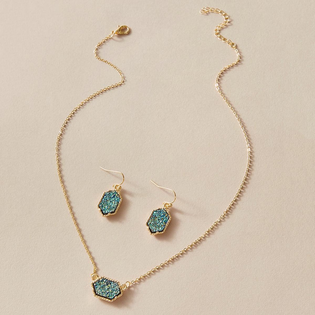Halskette mit Hexagon Anhänger 1 Stück & Ohrringe 1 Paar