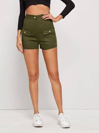 Flap Pocket Solid Cargo Shorts