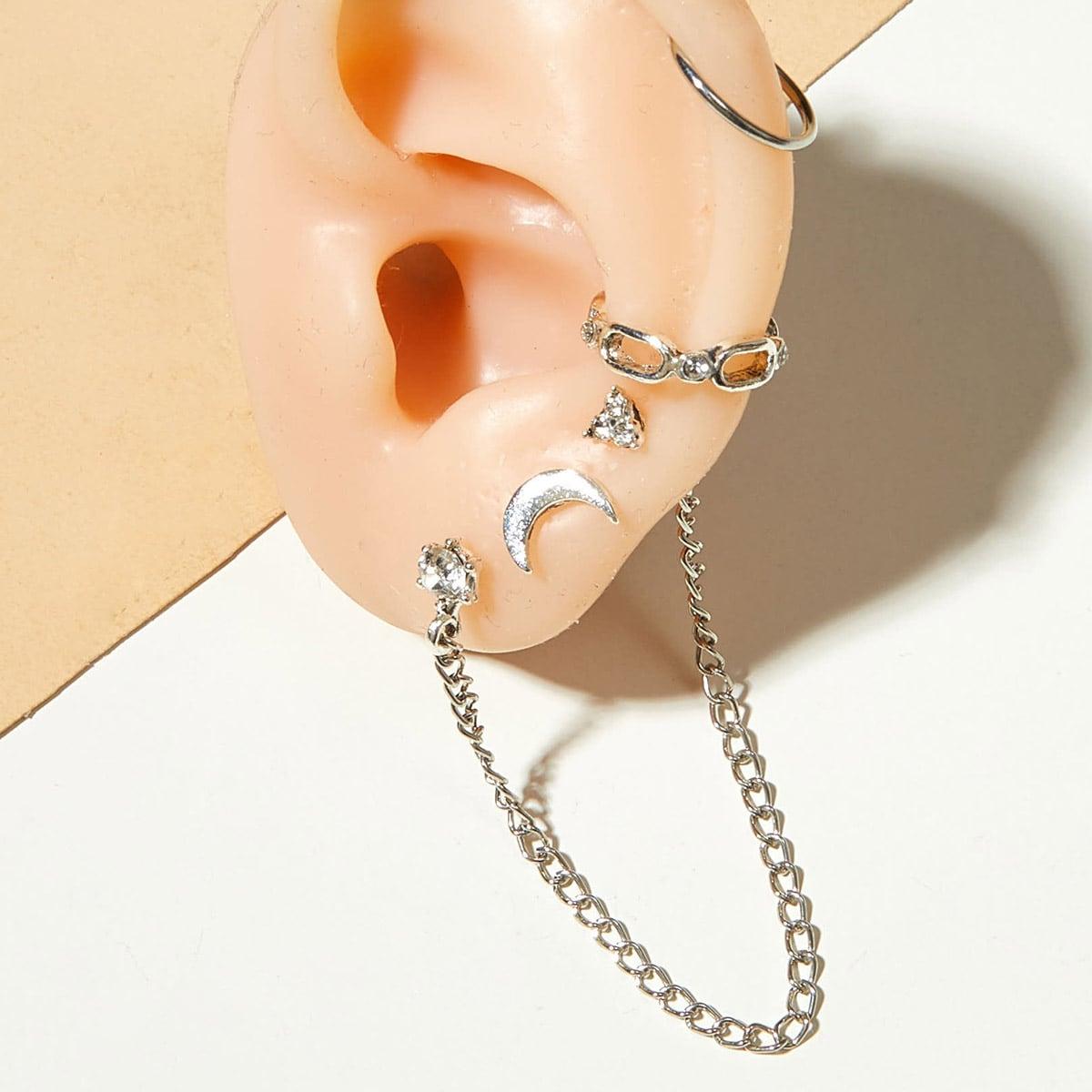 Ohrringe mit Kette & Mond Dekor 4 Stücke