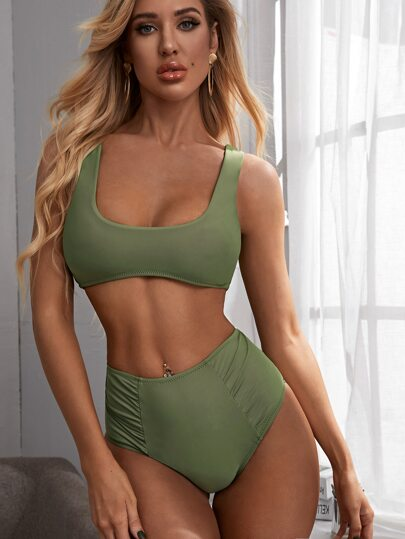 Solid Top With Ruched High Waist Bikini Set