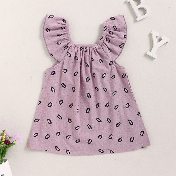 Baby Girl Lip Print Bow Back Dress, Purple pastel