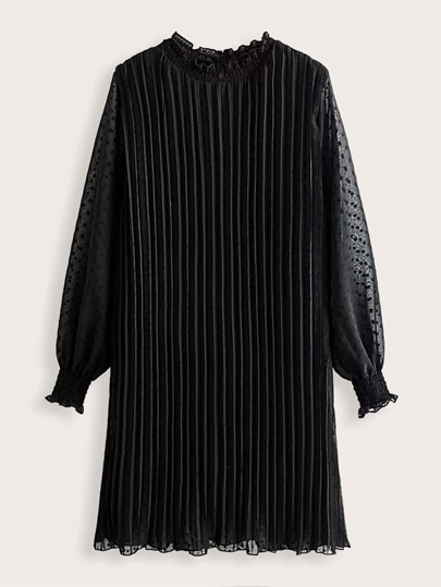 Contrast Mesh Shirred Detail Pleated Dress
