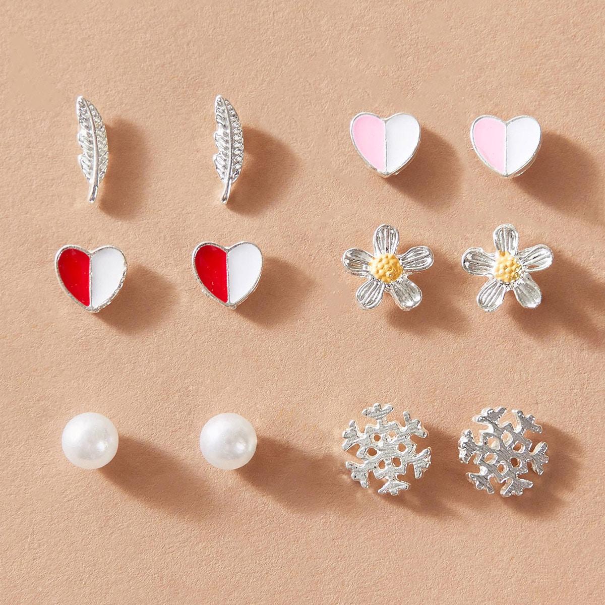 6pairs Girls Heart & Snowflake Shaped Stud Earrings