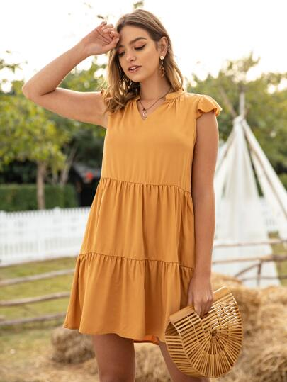 Cap Sleeve Notched Ruffle Hem Dress