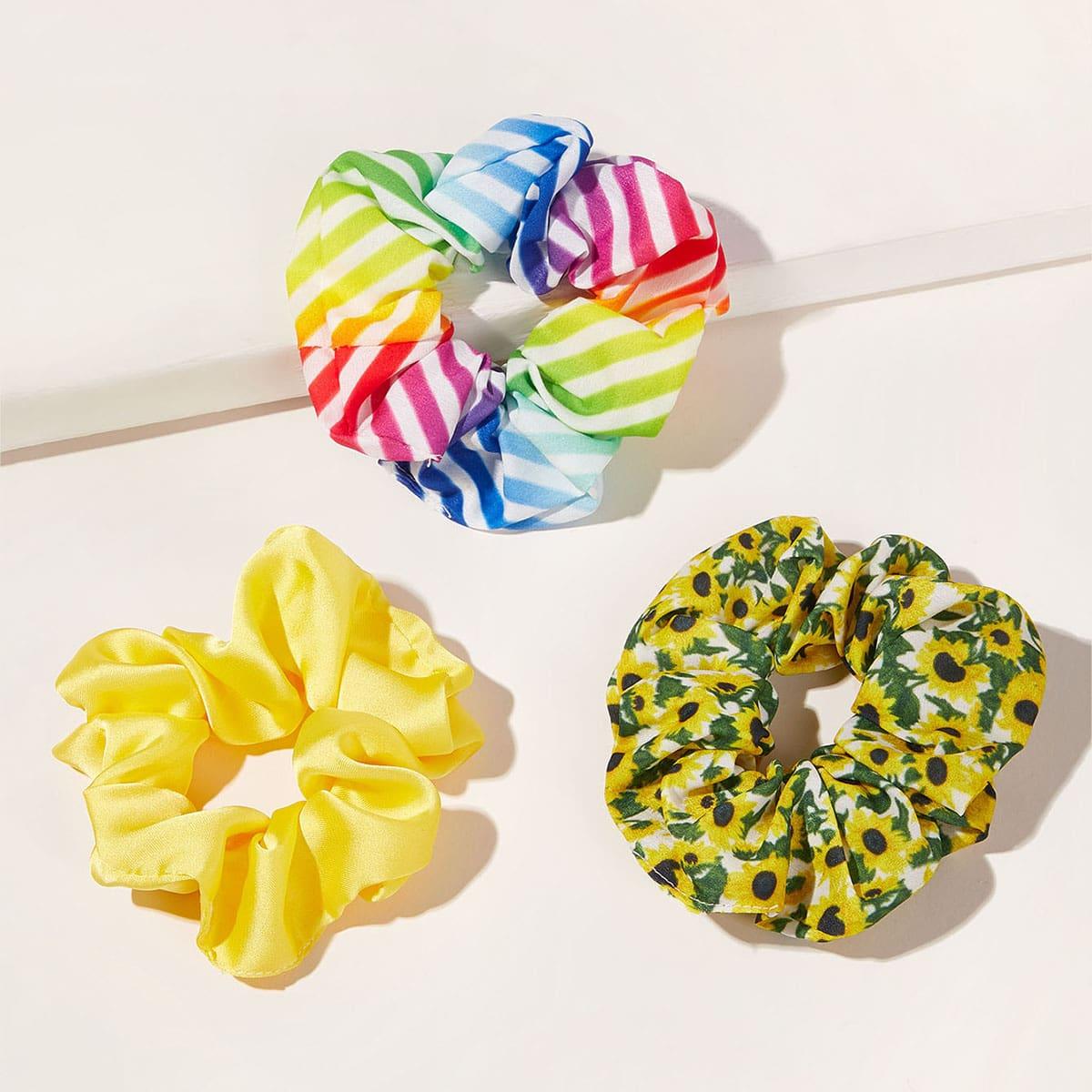 3pcs flower & striped pattern crumpled scrunchie