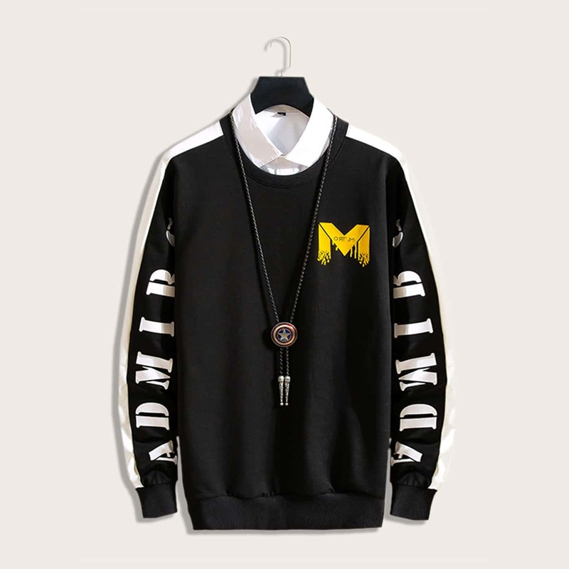 Guys Letter Graphic Sweatshirt Without Necklace, Black