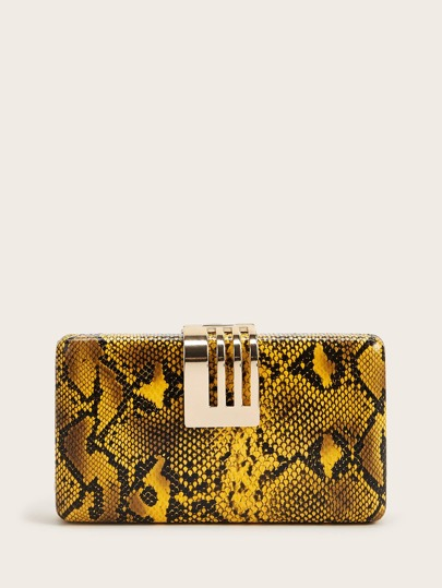 Snakeskin Structured Clutch Bag