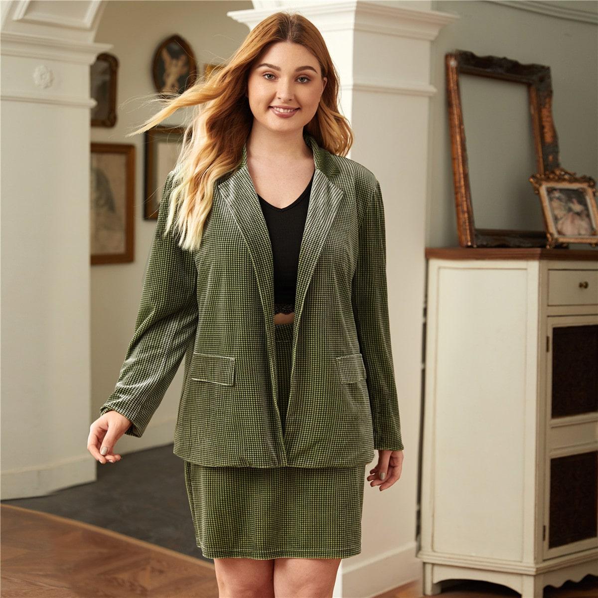 Plus Notched Collar Houndstooth Velvet Blazer & Skirt Set, SHEIN  - buy with discount