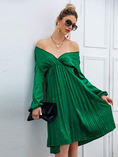 Solid Surplice Front Pleated Hem Satin Dress