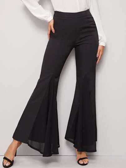 Zip Side Ruffle Flare Leg Pants
